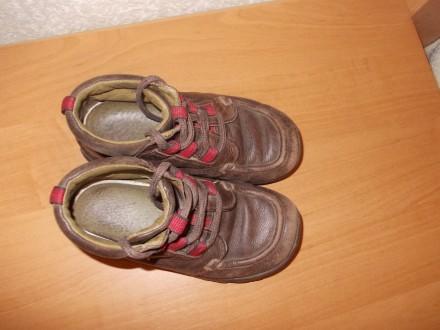 Демисезонные ботинки коричневого цвета (имеются вставки красного цвета) на шнурк. Днепр, Днепропетровская область. фото 4