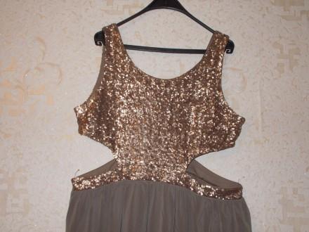 21ba10a0a53 Красивое праздничное платье с золотыми пайетками р. 54-56 XXL