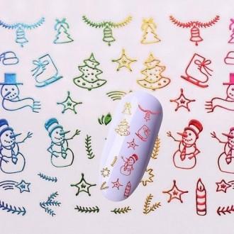 3д голографисческие новогодние наклейки для маникюра.. Киев. фото 1