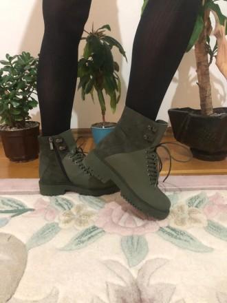 Оливковій шкіряні зимові черевики. Ивано-Франковск. фото 1