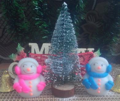 Новогодние мыло Снеговик и Елка с бантами  набор. Кременчуг. фото 1