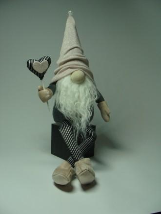 Интерьерная текстильная игрушка гномик ручной работы. Черкаси. фото 1