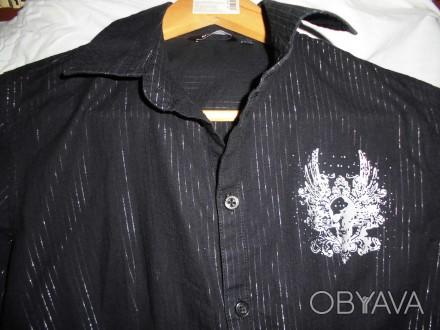 Рубашка черная в серебряную полоску,