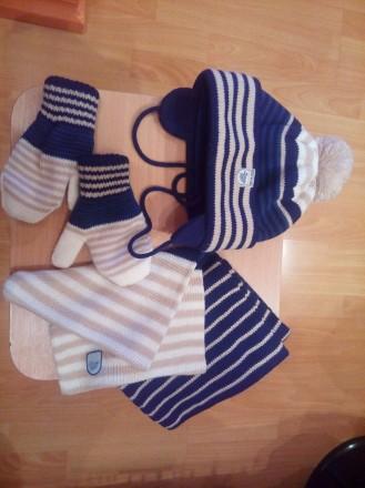 Шапочка с шарфиком и рукавичками. Цена=180грн.. Бердичев. фото 1