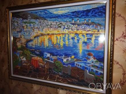 """Картина """"Средиземноморский вечер"""" вышитая чешским бисером. Полная зашивки под ст. Мелитополь, Запорожская область. фото 1"""