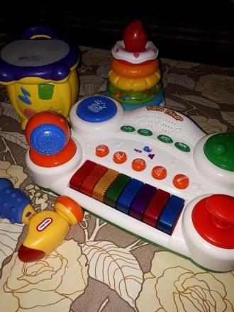 Игрушки .Музыкальный барабан,пирамидка,молоток,пианино.. Киев. фото 1