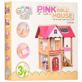 Домик кукольный 1068 деревянный Pink doll house домик игрушечнный для кукол. Хмельницкий. фото 1