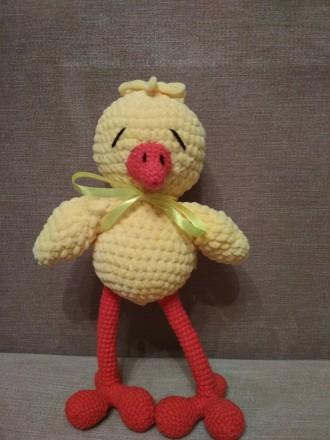 Цыпленок плюшевый, вязаный крючком. Днепр. фото 1