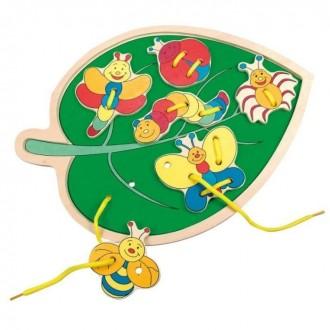 Шнуровка Листик с насекомыми Bino. Киев. фото 1