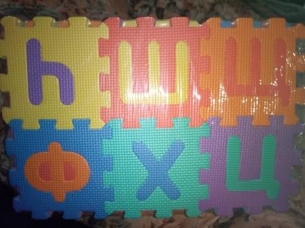 Детский развивающий коврик-пазл мозаика, русский и украинский алфавит. Киев. фото 1