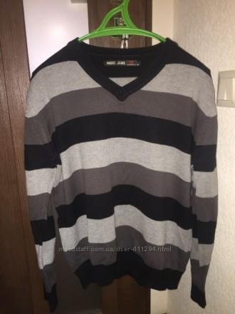 Чоловіча кофта пуловер светр, сіра в широку полоску, в гарному стані, Madoc jean. Луцк, Волынская область. фото 2