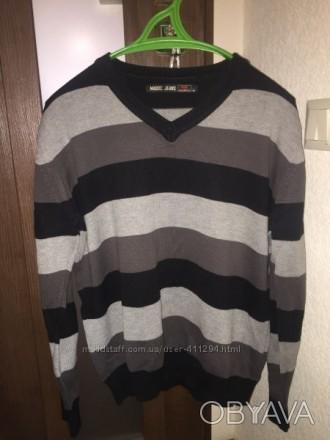 Чоловіча кофта пуловер светр, сіра в широку полоску, в гарному стані, Madoc jean. Луцк, Волынская область. фото 1