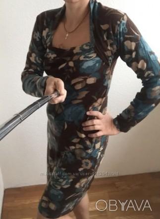 Тепла в´язана сукня коричнево -зеленого кольору, в гарному стані, є трошки катиш. Луцк, Волынская область. фото 1