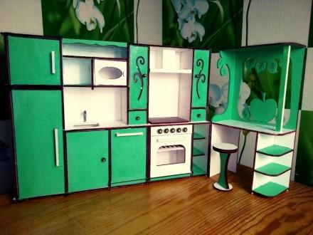 Кухня для Барби (HandMade). Кукольная мебель. Мебель для кукол. Прилуки. фото 1