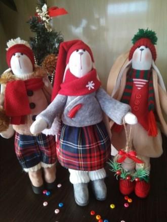 Зайка Тильда мягкая игрушка Новогодний подарок. Попельня. фото 1