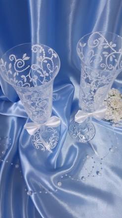 Вашему вниманию ручная роспись свадебных бокалов. краски использую только качес. Вышгород, Киевская область. фото 8