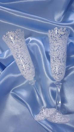 Вашему вниманию ручная роспись свадебных бокалов. краски использую только качес. Вышгород, Киевская область. фото 7