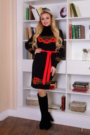 Платье вязаное Веночек (4 цвета), вязанное платье, теплое платье, дропшиппинг ук. Харьков. фото 1