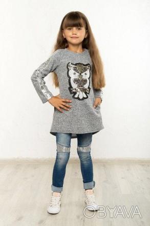 Туника детская Мари сова №3, туника для девочки, совушка,детская туника, дропшип