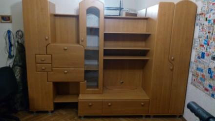 Детская стенка 198 х 265 х 56/39 см (шкафы, полки, ящики). Борисполь. фото 1