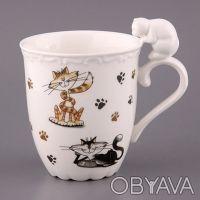 Чашки с котиками - фарфор -. Чернигов. фото 1