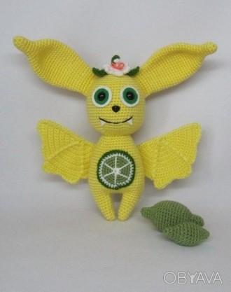 Летучая мышка Лаймка. Вязаная игрушка. Ручная работа.. Северодонецк. фото 1