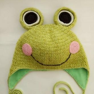 Шапка лягушонок на завязках (зима. Кременчуг. фото 1
