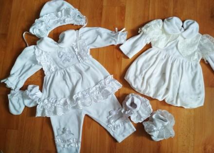 Нарядный набор для крещения, шапочка, платье штаны, пинетки и царапки, цвет бело. Соленое, Днепропетровская область. фото 3
