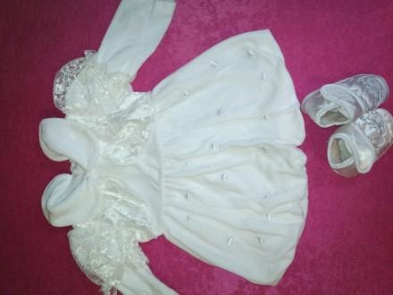 Нарядный набор для крещения, шапочка, платье штаны, пинетки и царапки, цвет бело. Соленое, Днепропетровская область. фото 9
