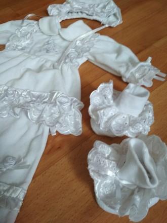Нарядный набор для крещения, шапочка, платье штаны, пинетки и царапки, цвет бело. Соленое, Днепропетровская область. фото 8