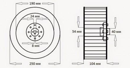Крыльчатка для центробежного вентилятора , диаметр 250 мм, вал 24 мм  . Крыльч. Днепр, Днепропетровская область. фото 6