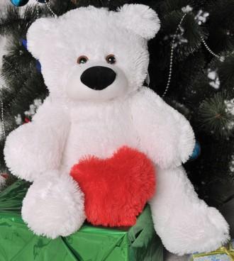 Мишка Бублик 95 см белый с сердцем 40 см. Киев. фото 1