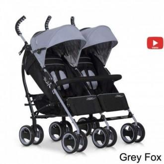 Детская прогулочная коляска для двойни EasyGo Duo Comfort Grey Fox.. Луцк. фото 1
