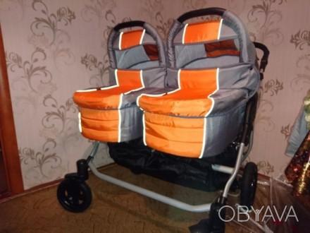Продам коляску для двойни. Новая,в использовании не была. Комплект полный ( сумк. Ахтырка, Сумская область. фото 1