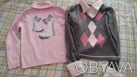 Продам свитер на девочку,р.140,б/у,имитация с белой блузкой,основной цвет-серый,. Чернигов, Черниговская область. фото 2
