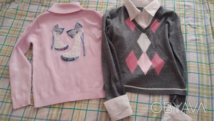 Продам свитер на девочку,р.140,б/у,имитация с белой блузкой,основной цвет-серый,. Чернигов, Черниговская область. фото 1