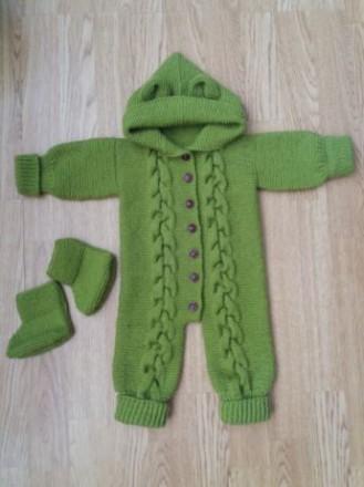 Продам детский вязаный костюм (комбинезон и пинетки). Ручная работа. Черновцы. фото 1