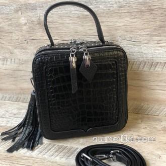 Женская кожаная сумка черная жіноча шкіряна сумка чорна b71dd30033080