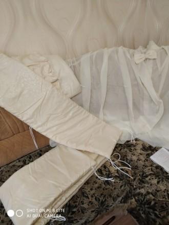 Защита, балдохин, одеялко и подушка для детской кроватки. Александрия. фото 1