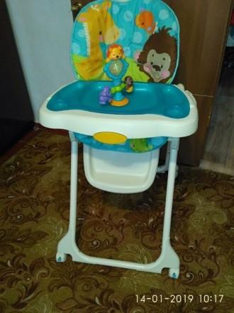 """Стульчик для кормления """"Голубая планета"""" Fisher Price Высокий стул для кормления. Слов'янськ, Донецька область. фото 2"""