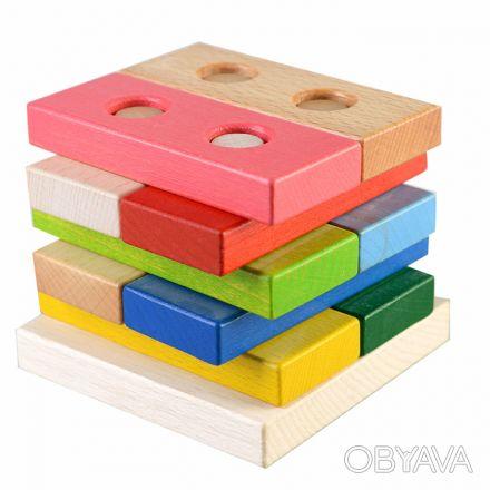 Игрушка состоит из цветных плашек-деталек на деревянной основе. Можно использов. Киев, Киевская область. фото 1