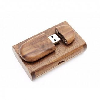USB флешка Shandian овальная деревянная в коробке, орех 16GB. Киево-Святошинский. фото 1