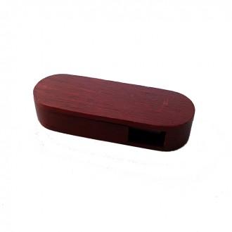 Флешка овальная выкидная деревянная, махагон 16GB. Киево-Святошинский. фото 1