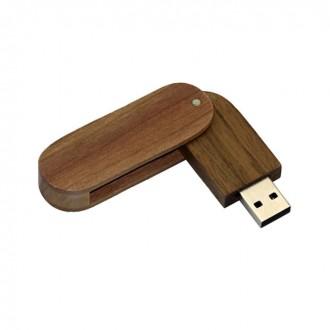 USB флешка Shandian овальная выкидная деревянная, орех 16GB. Киево-Святошинский. фото 1