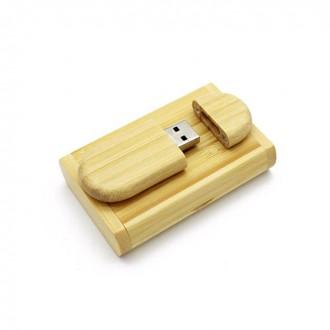 USB флешка Shandian овальная деревянная в коробке, бамбук 16GB. Киево-Святошинский. фото 1