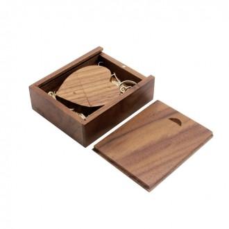 Флешка сердце деревянное в деревянной коробке, темное, 16 GB. Киево-Святошинский. фото 1