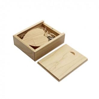 Флешка сердце деревянное в деревянной коробке, светлое, 16 GB. Киево-Святошинский. фото 1