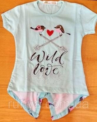 Легкая футболочка Птички на девочку 1 год, салатовый. Черкассы. фото 1