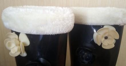 Резиновые сапоги (с утепленным носком) на невысоком удобном каблуке (3 см.),   з. Северодонецк, Луганская область. фото 5
