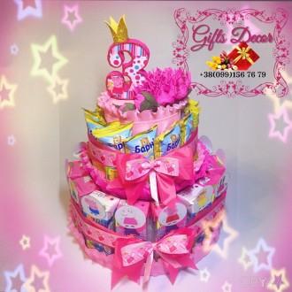 Торт из соков и Барни «Свинка Пеппа» на День Рождения ребёнка в садик / школу. Київ. фото 1